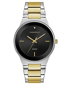 Caravelle Designed by Bulova  Men's Diamond-Accent Two-Tone Stainless Steel Bracelet Watch 40mm