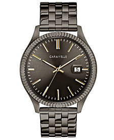 Caravelle Men's Gunmetal Stainless Steel Bracelet Watch 41mm