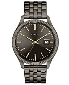 Caravelle Designed by Bulova  Men's Gunmetal Stainless Steel Bracelet Watch 41mm