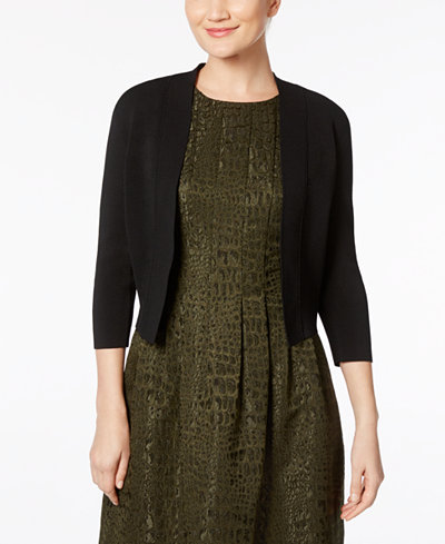 Anne Klein Three-Quarter-Sleeve Cropped Cardigan