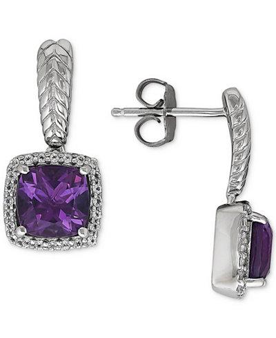 Amethyst (2-5/8 ct. t.w.) & White Topaz (1/4 ct. t.w.) Drop Earrings in Sterling Silver