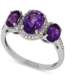 Amethyst (1-9/10 ct. t.w.) & Diamond (1/10 ct. t.w.) Ring in Sterling Silver