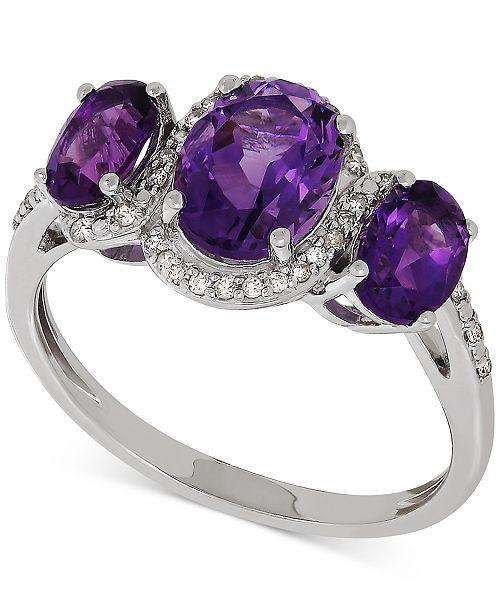 Macy's Amethyst (1-9/10 ct. t.w.) & Diamond (1/10 ct. t.w.) Ring in Sterling Silver