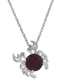 "Rhodolite Garnet (2-1/3 ct. t.w.) & Diamond Accent Crab 18"" Necklace in Sterling Silver"