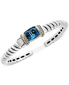 Final Call by EFFY® Blue Topaz Cuff Bracelet (7-5/8 ct. t.w.) in Sterling Silver & 18k Gold
