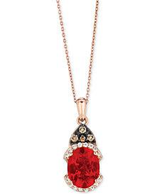 Le Vian Chocolatier® Neon Tangerine Fire Opal® (9/10 ct. t.w.) & Diamond (1/8 ct. t.w.) Pendant Necklace in 14k Rose Gold