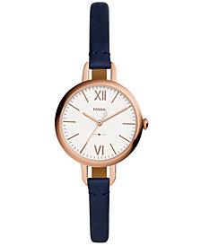 Fossil Women's Annette Navy Leather Strap Watch 30mm