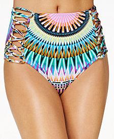 Bar III Sunburst High-Waist Lace-Up Bikini Bottoms, Created for Macy's