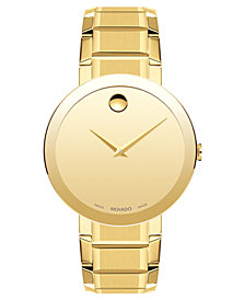 Movado Men's Swiss Sapphire Gold-Tone PVD Stainless Steel Bracelet Watch 39mm