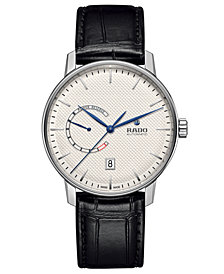 Rado Men's Swiss Automatic Coupole Classic Black Leather Strap Watch 41mm