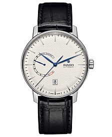 Rado Men's Swiss Automatic Coupole Classic Black Leather Strap Watch 41mm