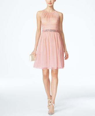Belted Chiffon Halter Dress