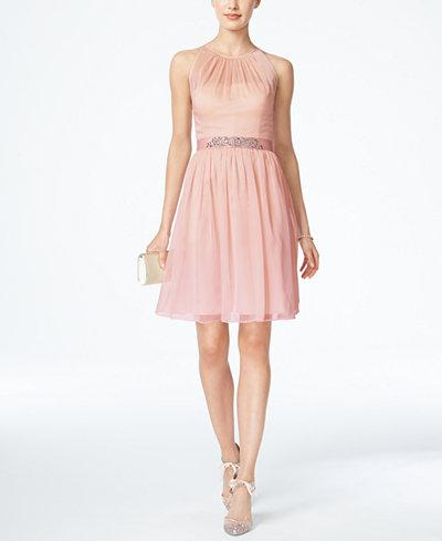 Adrianna Papell Belted Chiffon Halter Dress