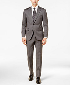 HUGO Men's Slim-Fit Gray Micro-Grid Suit