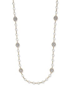 Gold-Tone Crystal Filigree & Imitation Pearl Strand Necklace, Created for Macy's