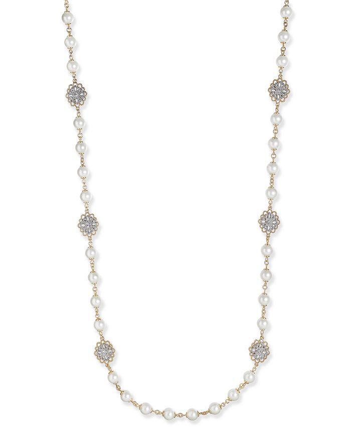 Charter Club - Gold-Tone Crystal Filigree & Imitation Pearl Strand Necklace