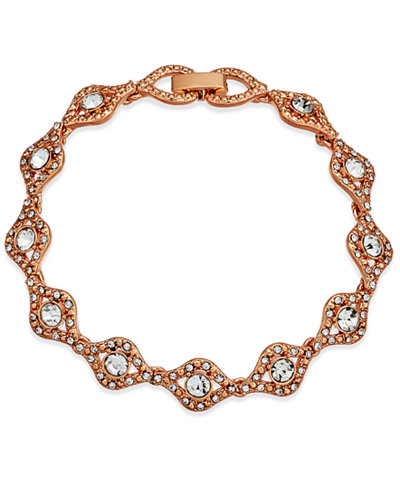Charter Club Rose Gold-Tone Crystal Link Bracelet, Created for Macy's