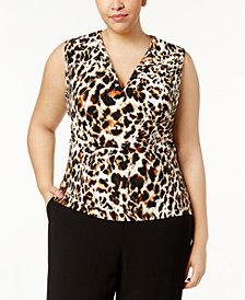Calvin Klein Plus Size Animal-Print Shell