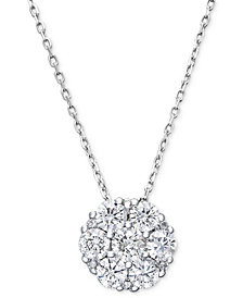 Diamond Flower Cluster Pendant Necklace in 14k White Gold (1 ct. t.w.)