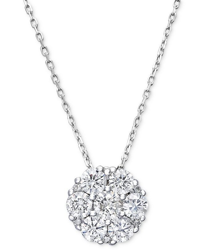 Macy's Diamond Flower Cluster Pendant Necklace in 14k White Gold (1 ct. t.w.)