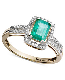 Emerald (9/10 ct. t.w.) and Diamond (1/5 ct. t.w.) Ring in 14k Gold