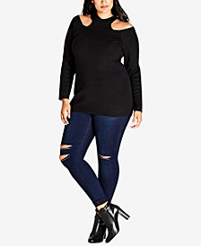 City Chic Trendy Plus Size Mock-Neck Cold-Shoulder Sweater