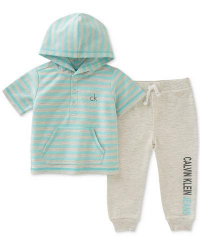 Calvin Klein 2-Pc. Striped Hoodie & Jogger Pants Set, Baby Boys