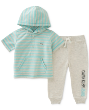 Calvin Klein 2Pc Striped Hoodie  Jogger Pants Set Baby Boys (024 months)
