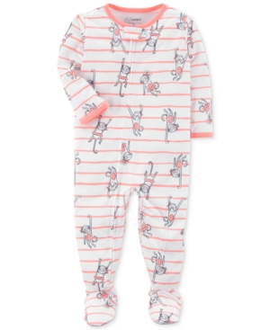Carters 1Pc Striped MonkeyPrint Footed Pajamas Baby Girls