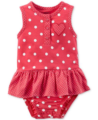 Carter's Dot-Print Cotton Ruffle Romper, Baby Girls