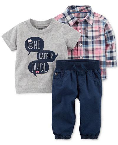 Carter's 3-Pc. T-Shirt, Shirt & Pants Cotton Set, Baby Boys
