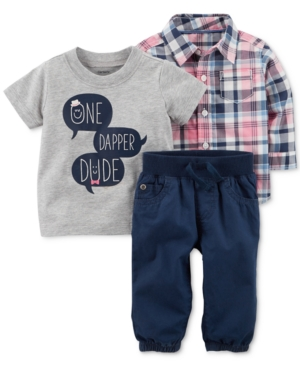 Carters 3Pc TShirt Shirt  Pants Cotton Set Baby Boys (024 months)