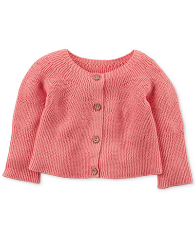 Carter's Button-Front Knit Cotton Cardigan, Baby Girls