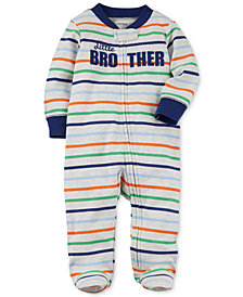 Carter's Baby Boys Striped Little Brother Cotton Footed Coverall