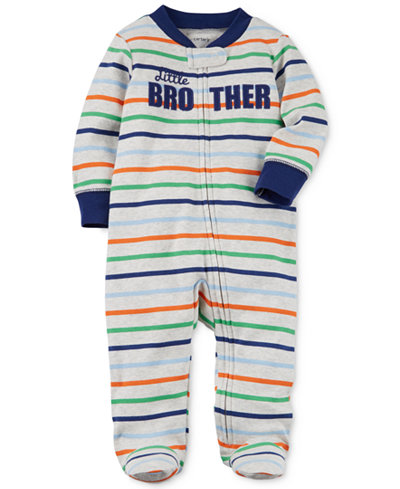 Carter's 1-Pc. Striped Little Brother Cotton Footed Coverall, Baby Boys