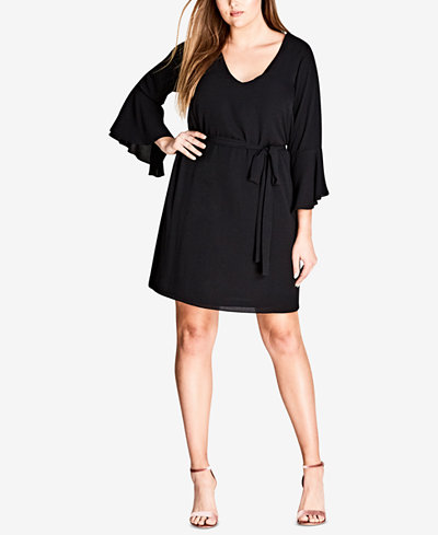 City Chic Trendy Plus Size Bell-Sleeve Shift Dress