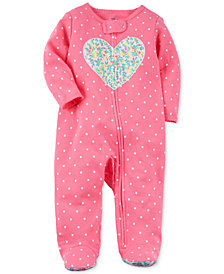 Carter's Baby Girls Dot-Print Heart Cotton Footed Coverall