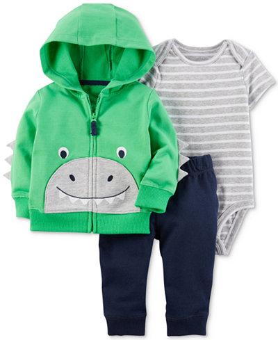 Carter's 3-Pc. Cotton Dinosaur Hoodie, Striped Bodysuit & Pants Set, Baby Boys