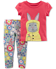 Carter's 2-Pc. Bunny Top & Floral-Print Leggings Set, Baby Girls