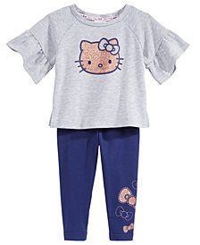 Hello Kitty 2-Pc. Flounce-Sleeve Top & Leggings Set, Baby Girls