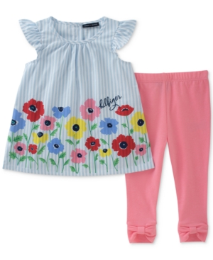 Tommy Hilfiger 2Pc Striped Floral Tunic  Bow Leggings Set Baby Girls (024 months)