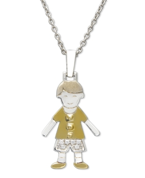 14k Gold and Sterling Silver Necklace, Boy Charm Pendant