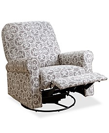 CLOSEOUT! Levina Fabric Nursery Swivel Glider Recliner, Quick Ship