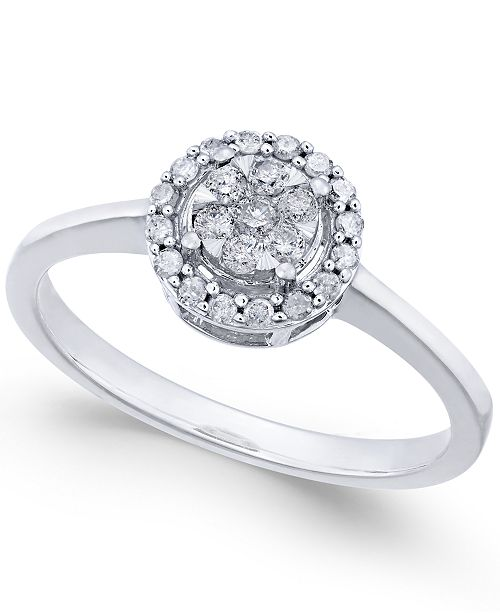 Macy's Diamond Cluster Promise Ring (1/4 ct. t.w.) in White Gold