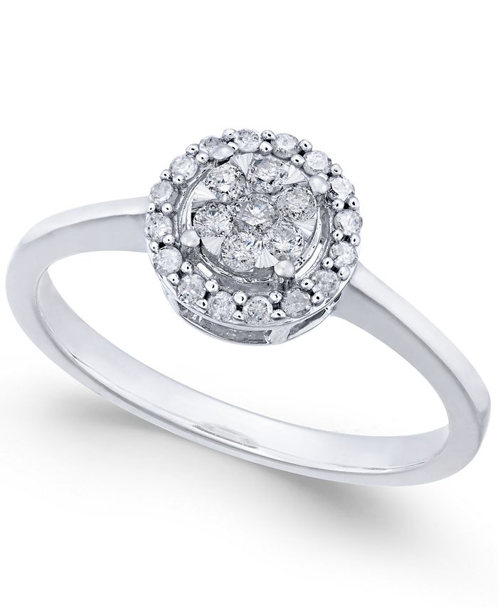 Promised Love - Diamond Cluster Promise Ring (1/4 ct. t.w.) in 10k White Gold