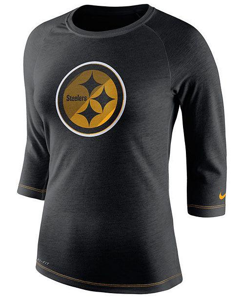 Nike Women s Pittsburgh Steelers Logo 3 4 Sleeve T-Shirt - Sports ... 588d08cad