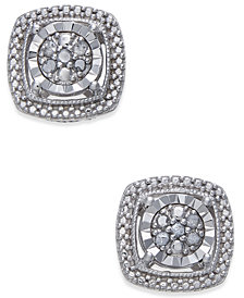 Diamond Cluster Miracle Plate Stud Earrings (1/10 ct. t.w.) in Sterling Silver