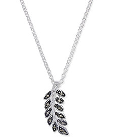 Marcasite & Crystal Vine Pendant Necklace in Fine Silver-Plate