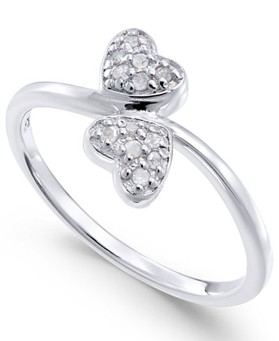 Diamond Double Heart Ring (1/10 ct. t.w) in Sterling Silver