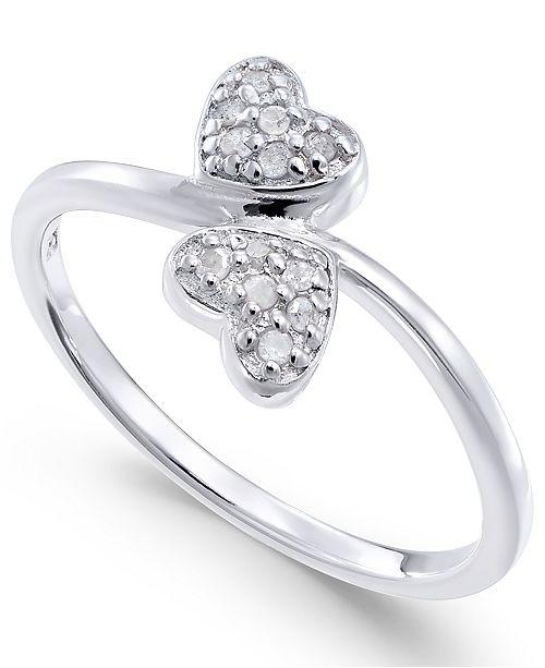 Macy's Diamond Double Heart Ring (1/10 ct. t.w) in Sterling Silver